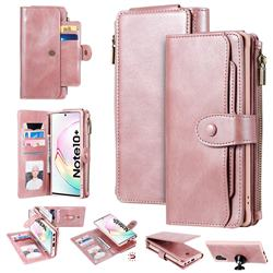 Retro Multifunction Zipper Magnetic Separable Leather Phone Case Cover for Samsung Galaxy Note 10 Plus (6.75 inch) / Note 10+ - Rose Gold