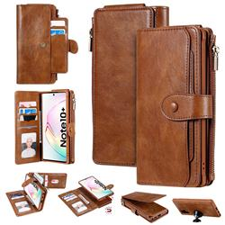 Retro Multifunction Zipper Magnetic Separable Leather Phone Case Cover for Samsung Galaxy Note 10 Plus (6.75 inch) / Note 10+ - Brown