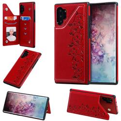 Yikatu Luxury Cute Cats Multifunction Magnetic Card Slots Stand Leather Back Cover for Samsung Galaxy Note 10 Pro (6.75 inch) / Note 10+ - Red