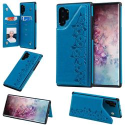 Yikatu Luxury Cute Cats Multifunction Magnetic Card Slots Stand Leather Back Cover for Samsung Galaxy Note 10 Plus (6.75 inch) / Note 10+ - Blue