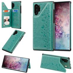 Yikatu Luxury Cute Cats Multifunction Magnetic Card Slots Stand Leather Back Cover for Samsung Galaxy Note 10 Plus (6.75 inch) / Note 10+ - Green