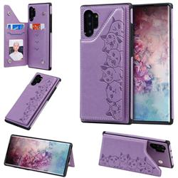 Yikatu Luxury Cute Cats Multifunction Magnetic Card Slots Stand Leather Back Cover for Samsung Galaxy Note 10 Plus (6.75 inch) / Note 10+ - Purple