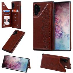 Yikatu Luxury Cute Cats Multifunction Magnetic Card Slots Stand Leather Back Cover for Samsung Galaxy Note 10 Pro (6.75 inch) / Note 10+ - Brown