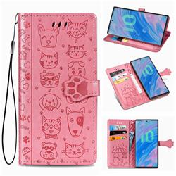 Embossing Dog Paw Kitten and Puppy Leather Wallet Case for Samsung Galaxy Note 10 Pro (6.75 inch) / Note 10+ - Pink