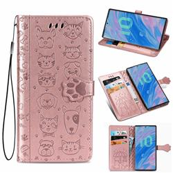 Embossing Dog Paw Kitten and Puppy Leather Wallet Case for Samsung Galaxy Note 10 Pro (6.75 inch) / Note 10+ - Rose Gold