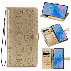 Embossing Dog Paw Kitten and Puppy Leather Wallet Case for Samsung Galaxy Note 10 Pro (6.75 inch) / Note 10+ - Champagne Gold