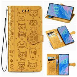 Embossing Dog Paw Kitten and Puppy Leather Wallet Case for Samsung Galaxy Note 10 Pro (6.75 inch) / Note 10+ - Yellow