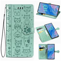 Embossing Dog Paw Kitten and Puppy Leather Wallet Case for Samsung Galaxy Note 10 Pro (6.75 inch) / Note 10+ - Green