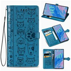 Embossing Dog Paw Kitten and Puppy Leather Wallet Case for Samsung Galaxy Note 10 Pro (6.75 inch) / Note 10+ - Blue