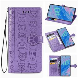 Embossing Dog Paw Kitten and Puppy Leather Wallet Case for Samsung Galaxy Note 10 Pro (6.75 inch) / Note 10+ - Purple