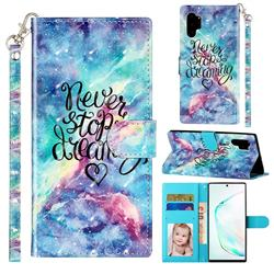 Blue Starry Sky 3D Leather Phone Holster Wallet Case for Samsung Galaxy Note 10 Pro (6.75 inch) / Note 10+