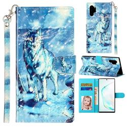 Snow Wolf 3D Leather Phone Holster Wallet Case for Samsung Galaxy Note 10 Pro (6.75 inch) / Note 10+