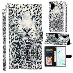White Leopard 3D Leather Phone Holster Wallet Case for Samsung Galaxy Note 10 Pro (6.75 inch) / Note 10+