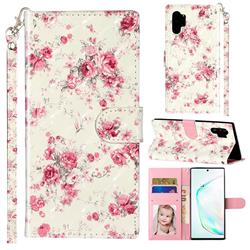 Rambler Rose Flower 3D Leather Phone Holster Wallet Case for Samsung Galaxy Note 10 Pro (6.75 inch) / Note 10+