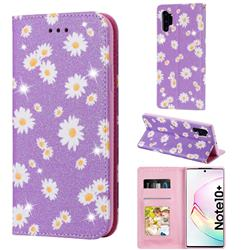 Ultra Slim Daisy Sparkle Glitter Powder Magnetic Leather Wallet Case for Samsung Galaxy Note 10 Pro (6.75 inch) / Note 10+ - Purple
