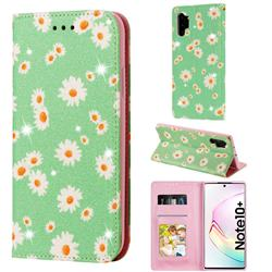 Ultra Slim Daisy Sparkle Glitter Powder Magnetic Leather Wallet Case for Samsung Galaxy Note 10 Pro (6.75 inch) / Note 10+ - Green