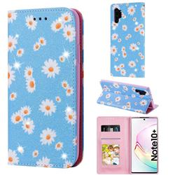 Ultra Slim Daisy Sparkle Glitter Powder Magnetic Leather Wallet Case for Samsung Galaxy Note 10 Pro (6.75 inch) / Note 10+ - Blue