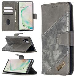 BinfenColor BF04 Color Block Stitching Crocodile Leather Case Cover for Samsung Galaxy Note 10 Pro (6.75 inch) / Note 10+ - Gray