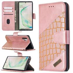 BinfenColor BF04 Color Block Stitching Crocodile Leather Case Cover for Samsung Galaxy Note 10 Pro (6.75 inch) / Note 10+ - Rose Gold