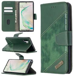 BinfenColor BF04 Color Block Stitching Crocodile Leather Case Cover for Samsung Galaxy Note 10 Pro (6.75 inch) / Note 10+ - Green