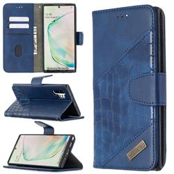 BinfenColor BF04 Color Block Stitching Crocodile Leather Case Cover for Samsung Galaxy Note 10 Pro (6.75 inch) / Note 10+ - Blue