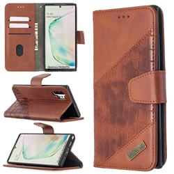 BinfenColor BF04 Color Block Stitching Crocodile Leather Case Cover for Samsung Galaxy Note 10 Pro (6.75 inch) / Note 10+ - Brown