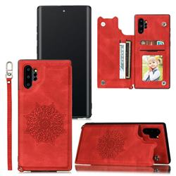 Luxury Mandala Multi-function Magnetic Card Slots Stand Leather Back Cover for Samsung Galaxy Note 10 Pro (6.75 inch) / Note 10+ - Red
