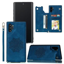 Luxury Mandala Multi-function Magnetic Card Slots Stand Leather Back Cover for Samsung Galaxy Note 10 Pro (6.75 inch) / Note 10+ - Blue