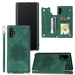 Luxury Mandala Multi-function Magnetic Card Slots Stand Leather Back Cover for Samsung Galaxy Note 10 Pro (6.75 inch) / Note 10+ - Green