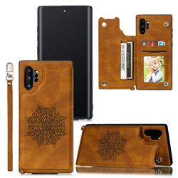 Luxury Mandala Multi-function Magnetic Card Slots Stand Leather Back Cover for Samsung Galaxy Note 10 Pro (6.75 inch) / Note 10+ - Brown