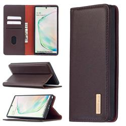 Binfen Color BF06 Luxury Classic Genuine Leather Detachable Magnet Holster Cover for Samsung Galaxy Note 10 Pro (6.75 inch) / Note 10+ - Dark Brown