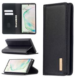 Binfen Color BF06 Luxury Classic Genuine Leather Detachable Magnet Holster Cover for Samsung Galaxy Note 10 Pro (6.75 inch) / Note 10+ - Black