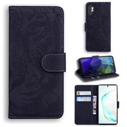 Intricate Embossing Tiger Face Leather Wallet Case for Samsung Galaxy Note 10 Pro (6.75 inch) / Note 10+ - Black