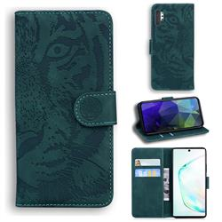 Intricate Embossing Tiger Face Leather Wallet Case for Samsung Galaxy Note 10 Pro (6.75 inch) / Note 10+ - Green