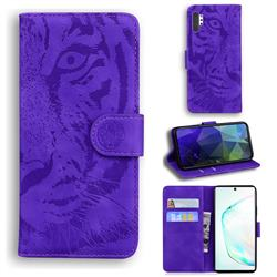 Intricate Embossing Tiger Face Leather Wallet Case for Samsung Galaxy Note 10 Pro (6.75 inch) / Note 10+ - Purple