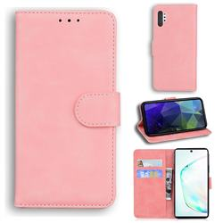 Retro Classic Skin Feel Leather Wallet Phone Case for Samsung Galaxy Note 10 Pro (6.75 inch) / Note 10+ - Pink