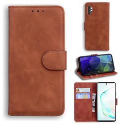 Retro Classic Skin Feel Leather Wallet Phone Case for Samsung Galaxy Note 10 Pro (6.75 inch) / Note 10+ - Brown