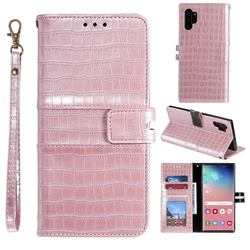 Luxury Crocodile Magnetic Leather Wallet Phone Case for Samsung Galaxy Note 10 Pro (6.75 inch) / Note 10+ - Rose Gold
