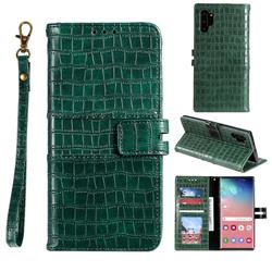 Luxury Crocodile Magnetic Leather Wallet Phone Case for Samsung Galaxy Note 10 Pro (6.75 inch) / Note 10+ - Green
