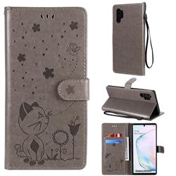 Embossing Bee and Cat Leather Wallet Case for Samsung Galaxy Note 10 Pro (6.75 inch) / Note 10+ - Gray