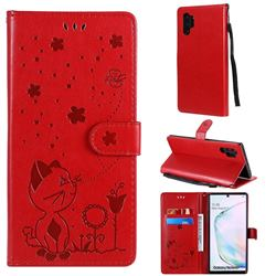 Embossing Bee and Cat Leather Wallet Case for Samsung Galaxy Note 10 Pro (6.75 inch) / Note 10+ - Red