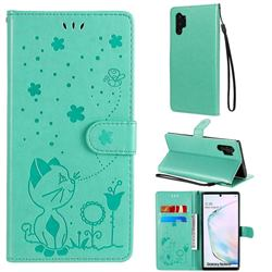 Embossing Bee and Cat Leather Wallet Case for Samsung Galaxy Note 10 Pro (6.75 inch) / Note 10+ - Green