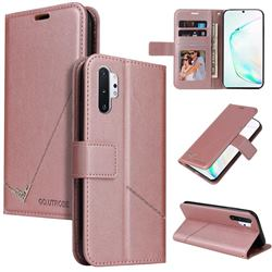 GQ.UTROBE Right Angle Silver Pendant Leather Wallet Phone Case for Samsung Galaxy Note 10 Pro (6.75 inch) / Note 10+ - Rose Gold