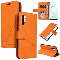 GQ.UTROBE Right Angle Silver Pendant Leather Wallet Phone Case for Samsung Galaxy Note 10 Pro (6.75 inch) / Note 10+ - Orange