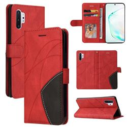 Luxury Two-color Stitching Leather Wallet Case Cover for Samsung Galaxy Note 10 Pro (6.75 inch) / Note 10+ - Red