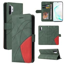 Luxury Two-color Stitching Leather Wallet Case Cover for Samsung Galaxy Note 10 Pro (6.75 inch) / Note 10+ - Green