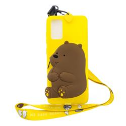 Yellow Bear Neck Lanyard Zipper Wallet Silicone Case for Samsung Galaxy Note 20
