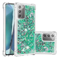 Dynamic Liquid Glitter Sand Quicksand TPU Case for Samsung Galaxy Note 20 - Green Love Heart