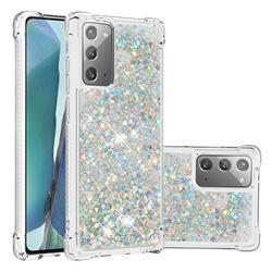 Dynamic Liquid Glitter Sand Quicksand Star TPU Case for Samsung Galaxy Note 20 - Silver
