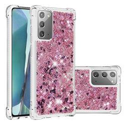 Dynamic Liquid Glitter Sand Quicksand Star TPU Case for Samsung Galaxy Note 20 - Diamond Rose
